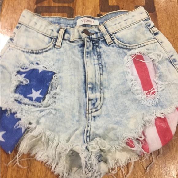 Vibrant Pants - Patriotic Jean Shorts
